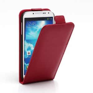 Superb Vertical Flip Genuine Leather Case Cover for Samsung Galaxy S4 IV i9500 i9502 i9505 - Red