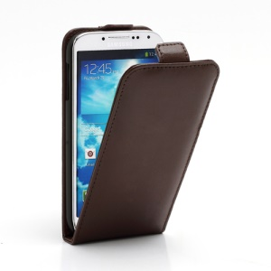 Superb Vertical Flip Genuine Leather Case Cover for Samsung Galaxy S4 IV i9500 i9502 i9505 - Coffee