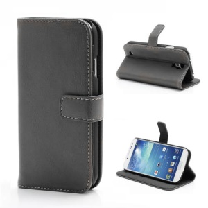 Premium Crazy Horse Leather Folio Wallet Case Stand for Samsung Galaxy S 4 IV i9500 i9505 - Grey