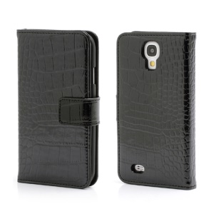 Crocodile Skin Real Genuine Leather Wallet Case for Samsung Galaxy IV S4 i9500 i9502 i9505 - Black