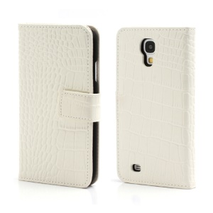 Crocodile Skin Real Genuine Leather Wallet Case for Samsung Galaxy IV S4 i9500 i9502 i9505 - White