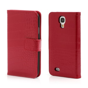 Crocodile Skin Real Genuine Leather Wallet Case for Samsung Galaxy IV S4 i9500 i9502 i9505 - Red
