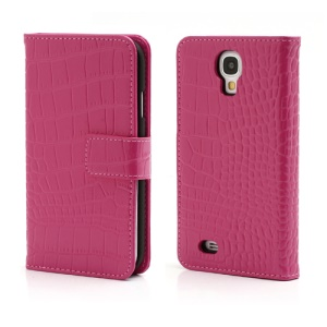 Crocodile Skin Real Genuine Leather Wallet Case for Samsung Galaxy IV S4 i9500 i9502 i9505 - Rose