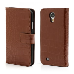 Crocodile Skin Real Genuine Leather Wallet Case for Samsung Galaxy IV S4 i9500 i9502 i9505 - Brown