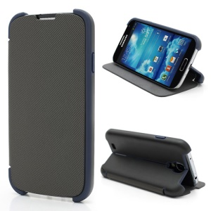 Twill Grain Creative Stand PU+PC Folio Leather Case for Samsung Galaxy S IV S4 i9500 i9502 i9505 - Black