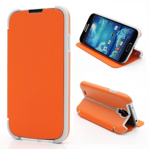 Twill Grain Creative Stand PU+PC Folio Leather Case for Samsung Galaxy S IV S4 i9500 i9502 i9505 - Orange