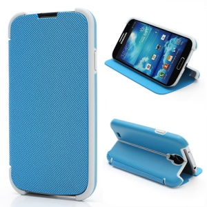 Twill Grain Creative Stand PU+PC Folio Leather Case for Samsung Galaxy S IV S4 i9500 i9502 i9505 - Blue