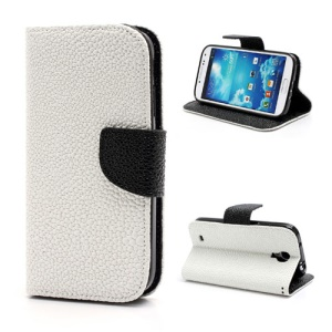Pearl Grain Leather Flip Wallet Case Cover for Samsung Galaxy S4 i9500 i9502 i9505 - Black / White