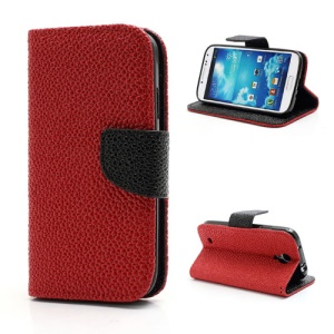 Pearl Grain Leather Flip Wallet Case Cover for Samsung Galaxy S4 i9500 i9502 i9505 - Black / Red