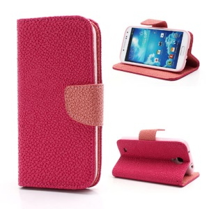 Pearl Grain Leather Flip Wallet Case Cover for Samsung Galaxy S4 i9500 i9502 i9505 - Pink / Rose