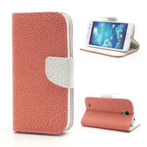 Pearl Grain Leather Flip Wallet Case Cover for Samsung Galaxy S4 i9500 i9502 i9505 - White / Pink