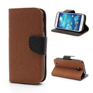 Pearl Grain Leather Flip Wallet Case Cover for Samsung Galaxy S4 i9500 i9502 i9505 - Black / Brown