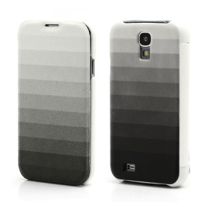 Grey Stripe Wallet Leather Flip Case Hard Back Cover for Samsung Galaxy S IV S4 i9500 i9502 i9505