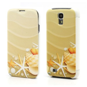 Yellow Starfish Folio Leather Wallet Case Hard Back Cover for Samsung Galaxy S IV S4 i9500 i9502 i9505
