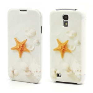White Sea Star Folio Leather Wallet Case Hard Back Cover for Samsung Galaxy S IV S4 i9500 i9502 i9505