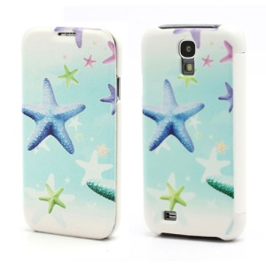 Colorized Starfish Folio Leather Wallet Case Hard Back Cover for Samsung Galaxy S IV S4 i9500 i9502 i9505