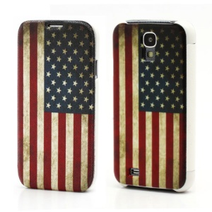Retro American Flag Leather Flip Case Wallet Hard Back Cover for Samsung Galaxy S IV S4 i9500 i9502 i9505