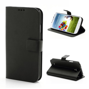 Cross Grain Folio Leather Stand Case for Samsung Galaxy S 4 IV i9500 i9505 - Black