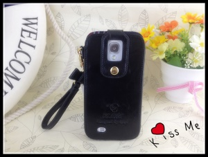 Klogi Leather Case Cover w/ Detachable Hand Strap for Samsung Galaxy S4 i9500 i9502 i9505 - Black