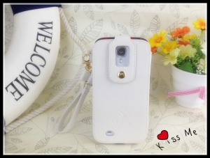 Klogi Leather Case Cover w/ Detachable Hand Strap for Samsung Galaxy S4 i9500 i9502 i9505 - White