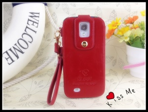 Klogi Leather Case Cover w/ Detachable Hand Strap for Samsung Galaxy S4 i9500 i9502 i9505 - Red