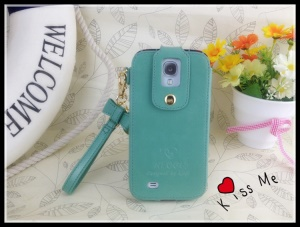 Klogi Leather Case Cover w/ Detachable Hand Strap for Samsung Galaxy S4 i9500 i9502 i9505 - Baby Blue