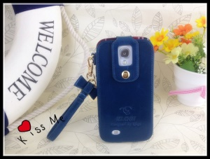 Klogi Leather Case Cover w/ Detachable Hand Strap for Samsung Galaxy S4 i9500 i9502 i9505 - Dark Blue