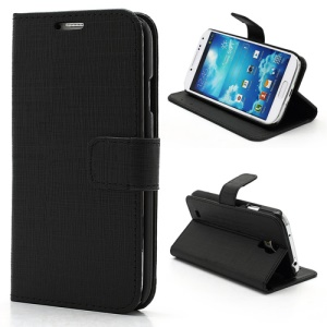 Staggered Texture Folio Leather Wallet Case with Stand for Samsung Galaxy S IV S4 i9500 i9502 i9505 - Black