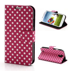 Polka Dots Stand Folio Leather Case w/ Card Slot for Samsung Galaxy S 4 IV i9500 i9505 - White Dots / Rose