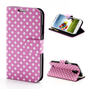 Polka Dots Stand Folio Leather Case w/ Card Slot for Samsung Galaxy S 4 IV i9500 i9505 - White Dots / Pink