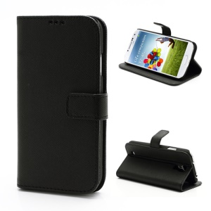 Cross Texture Folio Leather Case with Card Slots & Stand for Samsung Galaxy S 4 IV i9500 i9505 - Black
