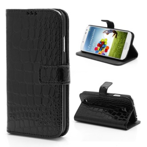 Crocodile Skin PU Leather Flip Magnetic Case Stand for Samsung Galaxy S 4 IV i9500 i9505 - Black