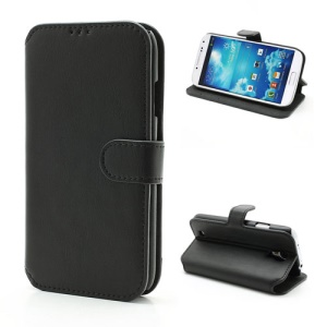 South Korea Leather Flip Case with Card Slots & Stand for Samsung Galaxy S4 S IV i9500 i9505 i9502 - Black