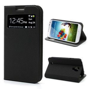 Window Leather Case for Samsung Galaxy S4 i9500, Hexagon Texture, Wake Up / Sleep Function - Black
