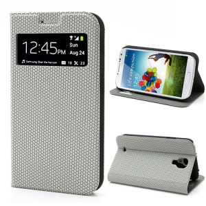 Window Leather Case for Samsung Galaxy S4 i9500, Hexagon Texture, Wake Up / Sleep Function - Grey
