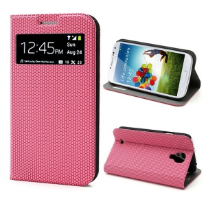 Window Hexagon Texture Leather Stand Case for Samsung Galaxy S4 i9500, Wake Up / Sleep Function - Rose