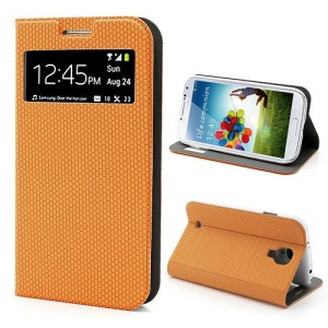 Window Hexagon Texture Leather Case for Samsung Galaxy S4 SCH-I545 Verizon, Wake Up / Sleep Function - Orange