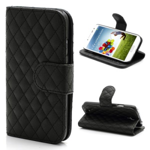 Grid Pattern Magnetic Wallet Card Leather Case Stand for Samsung Galaxy S 4 IV i9500 i9505 - Black