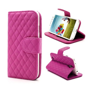 Grid Pattern Magnetic Wallet Card Leather Case Stand for Samsung Galaxy S 4 IV i9500 i9505 - Rose