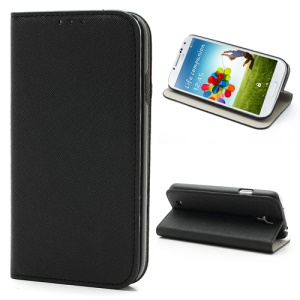 Novel Sucker Closure Cross Leather Stand Case for Samsung Galaxy S4 i9500 I337 - Black