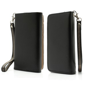 Soft Litchi Leather Purse Case with Card Slots for Samsung Galaxy S 4 IV i9500 i9505 / S III I9300 - Black