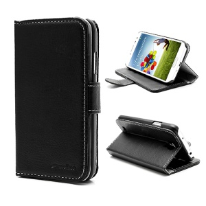 Melkco Folio Leather Credit Card Wallet Case w/ Stand for Samsung Galaxy S 4 IV i9500 i9505 - Black