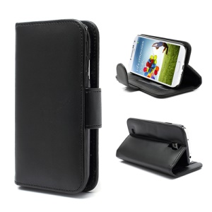Horizontal Folio Leather Wallet Case for Samsung Galaxy S4 S IV i9500 i9505 - Black