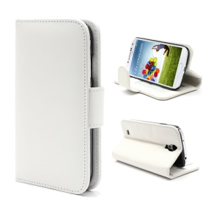 Folio Leather Wallet Case Cover for Samsung Galaxy S4 S IV i9500 i9505 - White