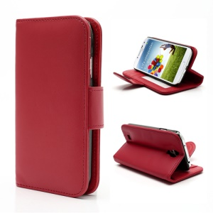 Folio Leather Wallet Stand Case Cover for Samsung Galaxy S4 S IV i9500 i9505 - Red