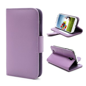 Folio Leather Wallet Case w/ Stand Card Slot for Samsung Galaxy S4 S IV i9500 i9505 - Purple