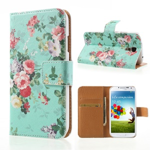 For Samsung Galaxy S4 i9505 Protective Leather Wallet Case Cross Texture Flowers Pattern