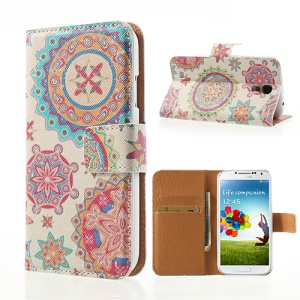 Colorful Circle Flower Pattern Cross Leather Wallet Case Stand for Samsung Galaxy S4 i9500
