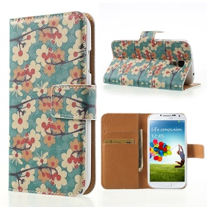 For Samsung Galaxy S4 i9500 Card Wallet Leather Case Vivid Flowers Pattern