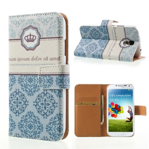 For Samsung Galaxy S4 i9502 Card Wallet Leather Shell Stand Blue Royal Flower Design